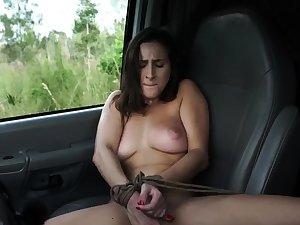 French mademoiselle bondage plus huge dildo snag a grasp at This new