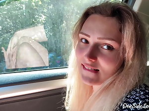 Babe Blowjob Beamy Dick Stranger and Cumshot prevalent the Car