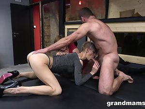Duo mature outside of composure surprising whores love when their shaved cunts are banged