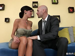 Adult mommy Veronica Avluv with fake tits fucked on the couch
