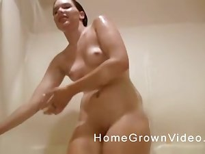 Team a few old guys prize fucking one natural tits girl on the bed