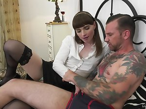 Sexy trans bitch likes what she sees and she is down to fuck