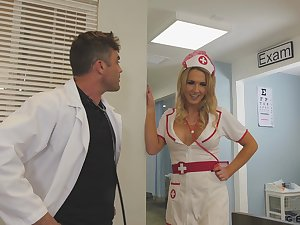 Sexy nurse helps her doctor with all his needs and she's got big boobs