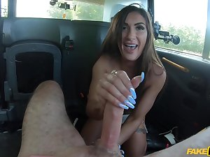 Busty doll sucks dick on her way to work together with fucks a lot