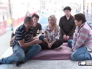 Horny blonde girl, Victoria Unquestionable is about to have a foursome with three random guys