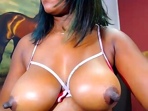Chunky Norwegian ebony on webcam