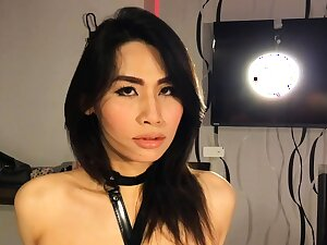 Compelled up small dick Asian shemale blowjob and irritant fucking