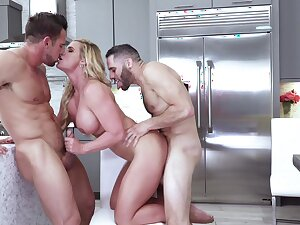 Two studs keep glorious MILF Phoenix Marie busy in the kitchen