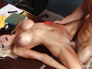 Fit blonde Rikki Six spreads will not hear of long legs for will not hear of horny boss