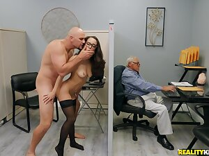 Stimulated transcriber tries the cock applicable at the office