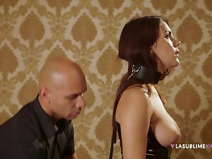 Gagged redhead plays submissive until the end