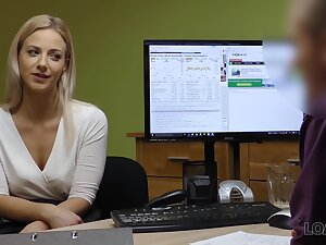A young woman interviews for a job and fucks her innovative boss round the process
