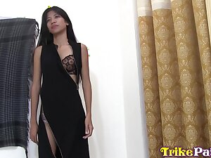 Flat chested Asian girl Anna is fucked and creampied by foreigner