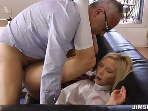 Old man bonk sexy young blonde in school unalterable