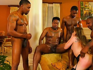 Black hunks share a whore to well-endowed intense gang bang