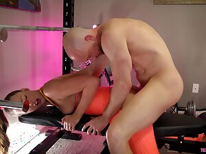 Gym set-to goes rough for the stimulated blonde